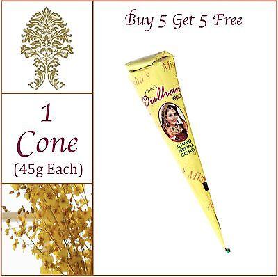 BUY 5 GET 5 FREE - JUMBO 45g Pure Henna Mehandi Tattoo Cone. No PPD. No Chem.