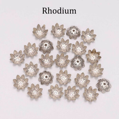 100pcs Lotus Flower Metal Loose Spacer Bead Caps Cone End Bead Cap Filigree y