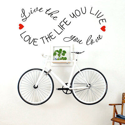 LOVE THE LIFE YOU LIVE Motivational Quote Vinyl Wall Sticker Home Decoration