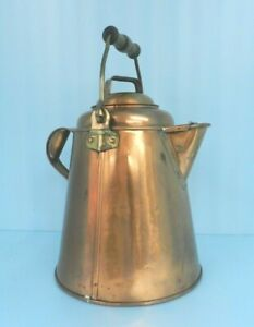 STUNNING Antique? Heavy Copper & Brass Kettle/Pitcher~w/LID Hand Made, 9-3/4 Qts