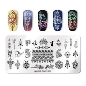 NICOLE-DIARY-Nail-Stamping-Plates-Mandala-Flower-Nail-Art-Stamp-Image-Plate-051