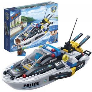 Kinder-Geschenk-Konstruktion-spielzeug-Bausteine-Baukaesten-Polizei-Boot-7006