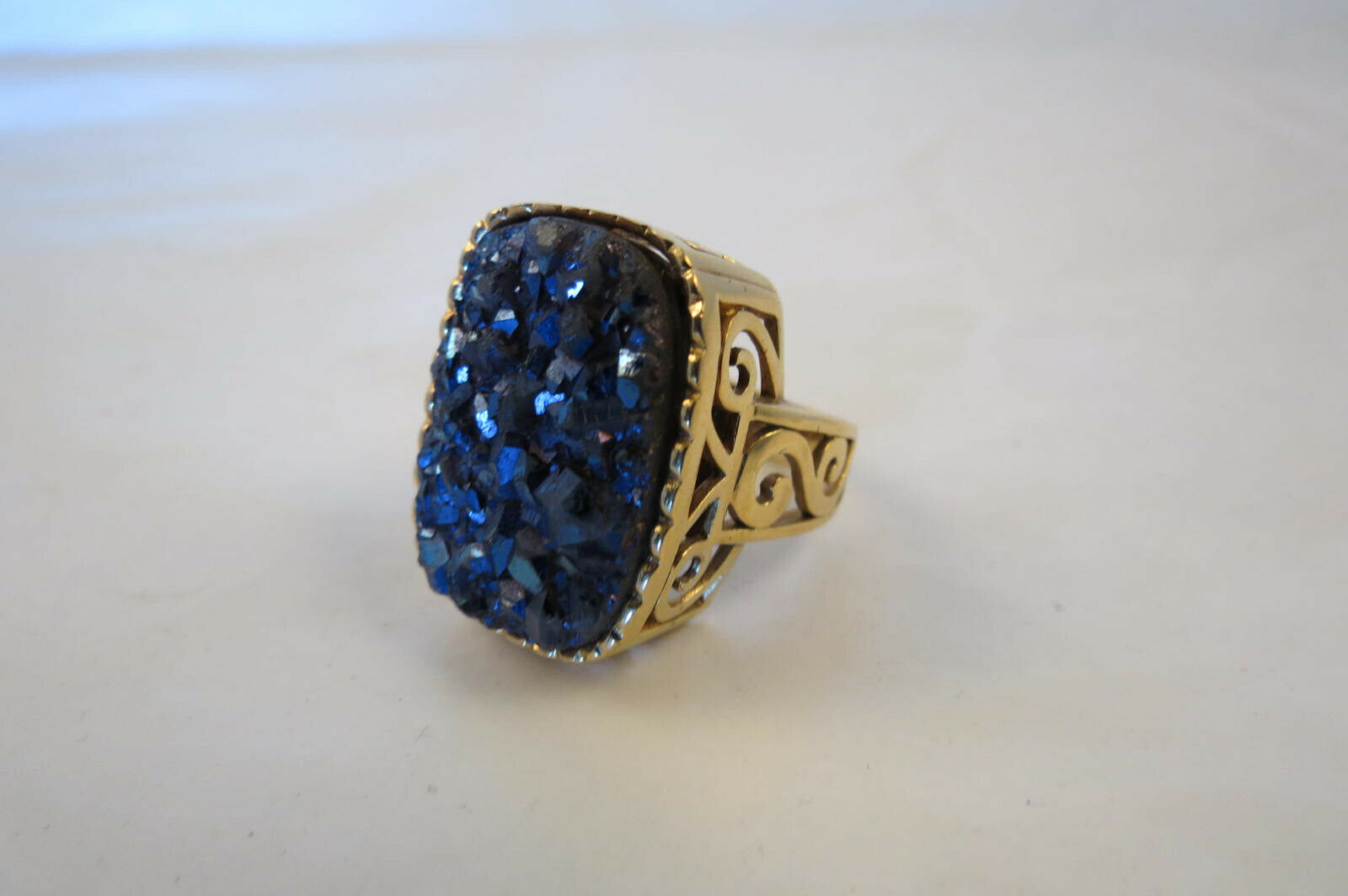 QVC Fashion HUGE Druzy Sterling gold Plated Ornate Ring size 9