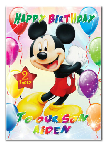 c132; Large Personalised Birthday card; Custom made for any name; MickeyMouseDis