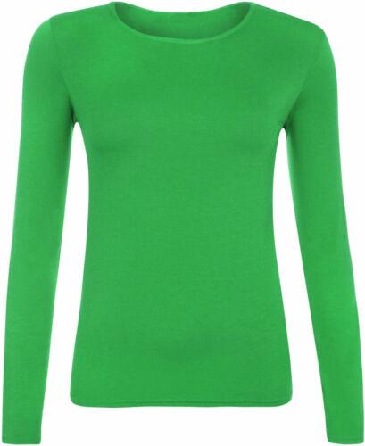 Women Basic Long Sleeve Plain Round Neck Ladies Stretch Plus Size Top T Shirt