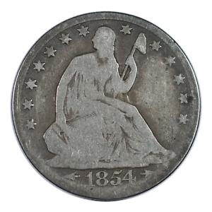 1854 Seated Liberty Half Dollar Arrows Very Good Condition