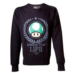 Nintendo-Super-Mario-Green-1UP-Mushroom-Men-039-s-Sweatshirt-Boy-039-s-Upgrade-Your-Life
