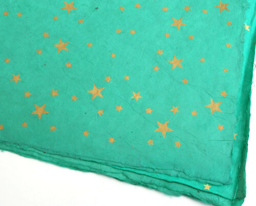 Gold Stars on Hand made and Fair Trade Paper Aqua Lokta Wrapping Paper