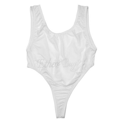 Women Spandex One-piece Bikinis Solid Leotard Top Swimsuits Monokini Bodysuit