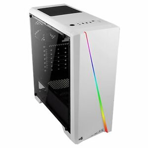 Aerocool Cylon White Gaming Pc Case With Tempered Glass Window Rgb