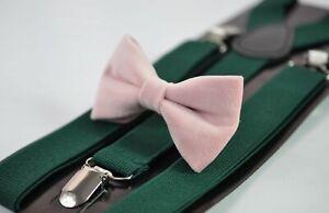 Blush-Dusty-Pink-Velvet-Bow-tie-Emerald-green-Elastic-Suspenders-Men-Youth-Boy
