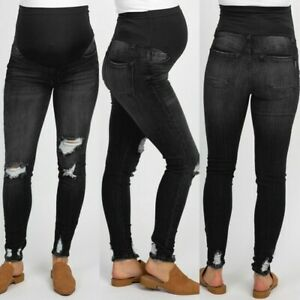 Woman-Pregnant-Black-Ripped-Jeans-Maternity-Pants-Trousers-Nursing-Belly-Legging