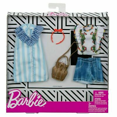 Barbie Clothing 2 Fashions Pack Pinstripes Dress /& Floral Top Casual Outfit NEW