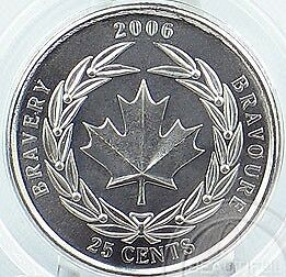 CANADA 2006 BRAVERY 25 CENTS GEM UNCIRCULATED~FREE SHIP