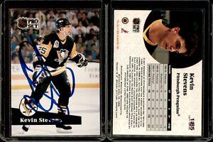 Kevin Stevens #185 signed autograph auto 1991-92 Pro Set Hockey Trading Card