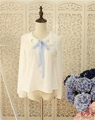 Cute Grils Lolita Blouse Coffee Kettle Embroidery White Shirt Top Long Sleeve