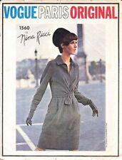 Vintage 60's VOGUE PARIS ORIGINAL NINA RICCI 1560 Drape Dress Sewing Pattern