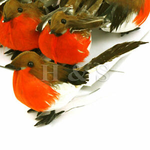 image is loading 12 x feathered robin bird christmas tree decoration