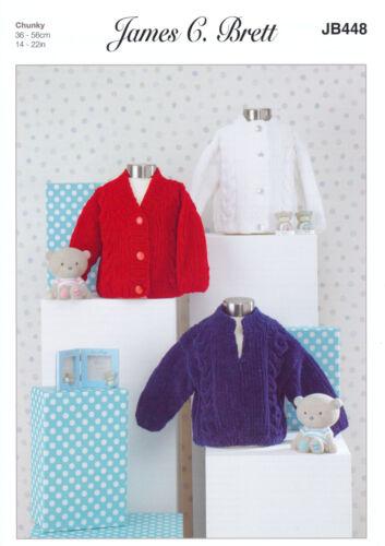 James Brett Chunky Knitting Pattern Baby Câblés Round V Cardigans /& Pull JB448