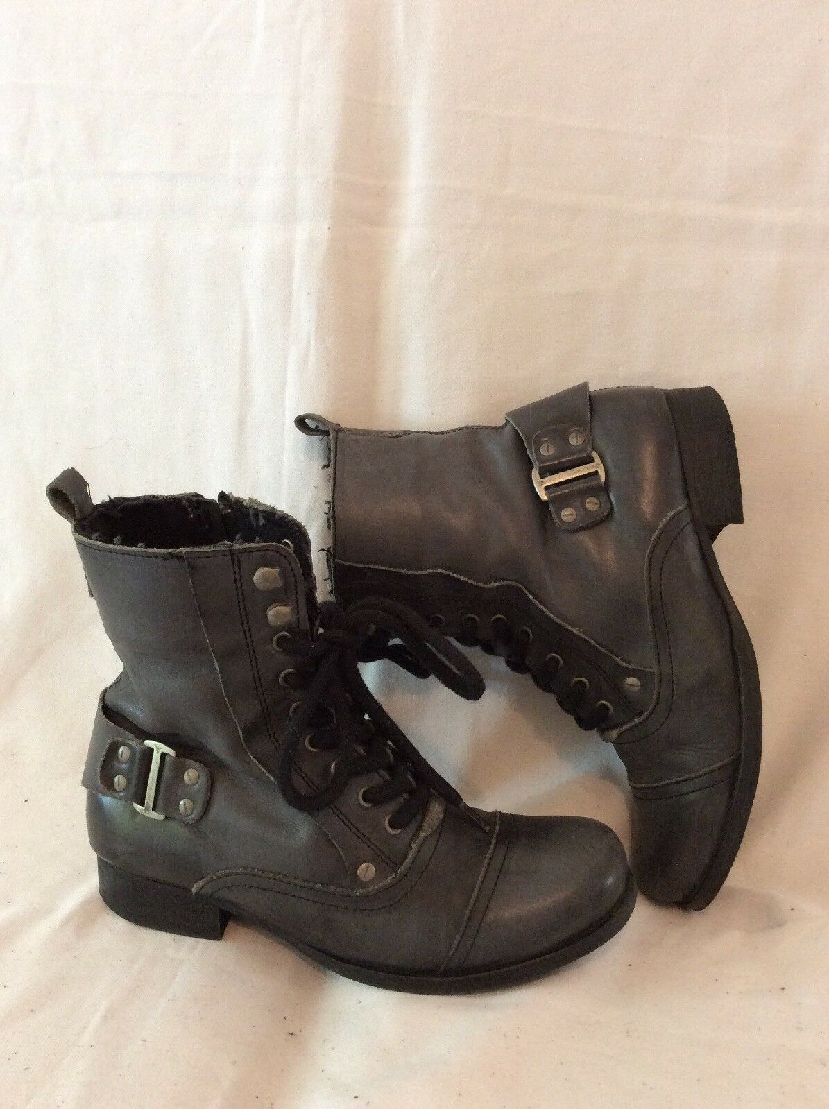 Next Dark Grey Ankle Leather Boots Size 3.5