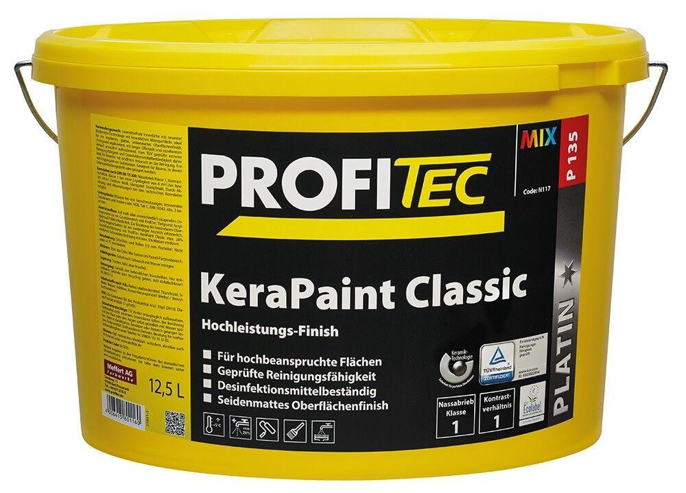 5x PROFITEC P 135 KeraPaint Classic weiß 12,5 Liter reinigungsfähig, seidenmatt