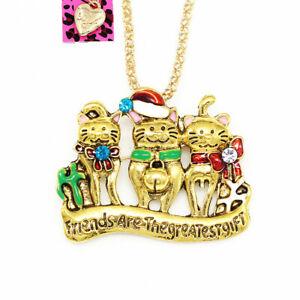 Betsey-Johnson-Cute-Cat-Kitten-Pendant-Sweater-Chain-Necklace-Brooch-Pin-Gift