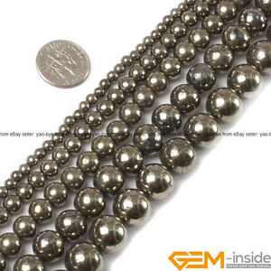 Natural-Silver-Gray-Pyrite-Gemstone-Round-Beads-15-034-3mm-4mm-6mm-8mm-10mm-12mm