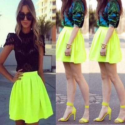 New Women High Waist Flared Mini Dress Stretch Sexy Skirt Pleated Skater Green