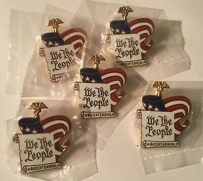 WE THE PEOPLE Constitution Bicentennial Enameled Lapel Pins Set of 5 NEW