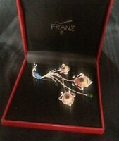Franz Porcelain Proud Peacock Jewelry Pin Fj00149 In Box