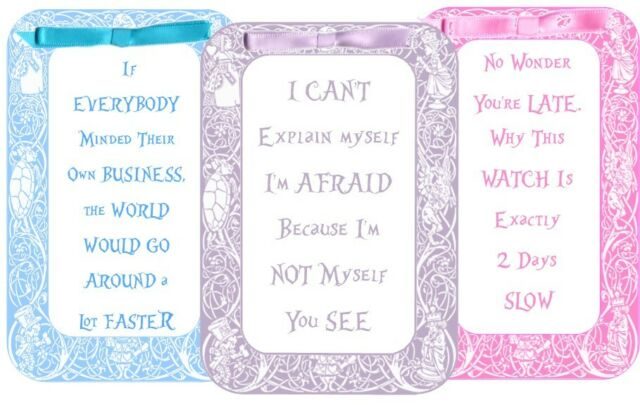 Alice in Wonderland pastel 8 tent cards party favor table decoration silk ribbon