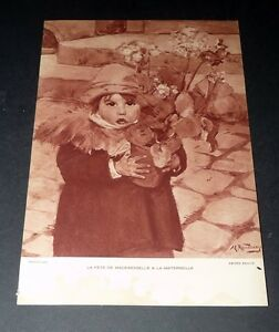 PUBLICITE-1930-1940-LABO-PHARMACEUTIQUE-FLUXINE-RONDENAY-ENFANT-FLEURS-ECOLE
