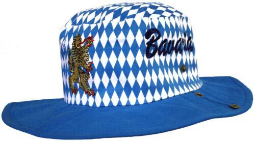 German Wear Bayrischer Hut Trachtenhut Bayernmuster Cowboy Oktoberfest blau