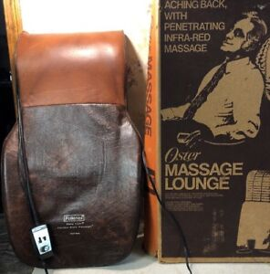 RARE-Vintage-OSTER-MASSAGE-LOUNGE-WITH-HEAT-Brown-Infrared-TESTED-Works