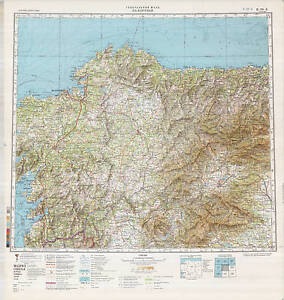 Topographical Map Of Spain.Details About Russian Soviet Military Topographic Maps La Coruna Spain 1 500 000 Ed 1986