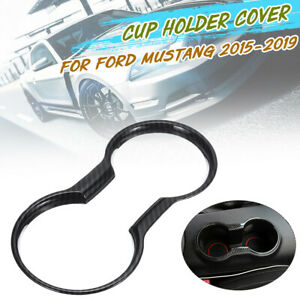 Auto-ABS-Carbon-Wasser-Cup-Holder-Panel-Cover-Trim-fuer-Ford-Mustang-2015-2019
