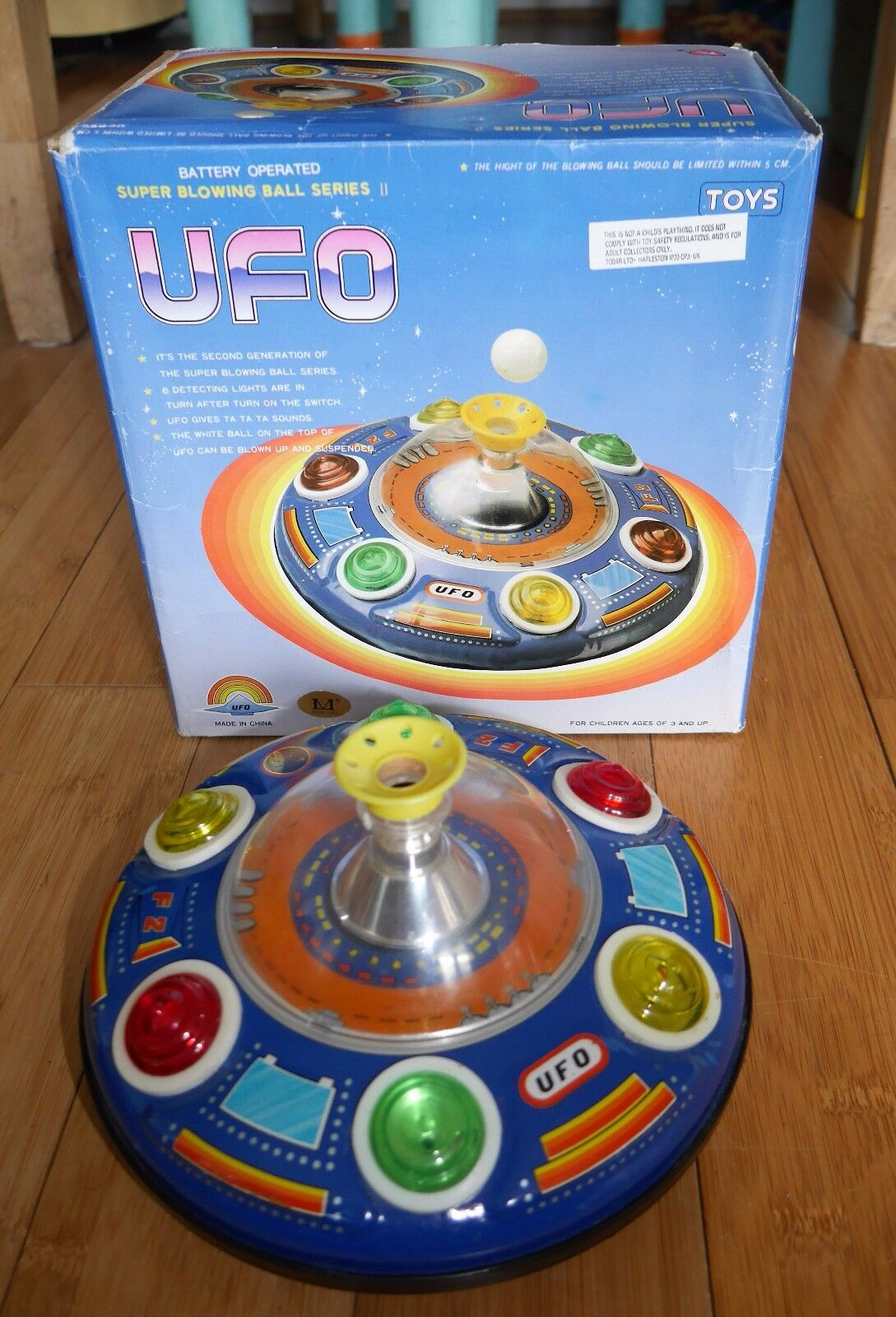 UFO SUPER BLOWING BALL SERIES II VINTAGE TINPLATE SPACE CRAFT TOY 1970's BOXED