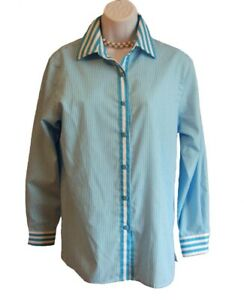 Striped No Iron Shirt Size M 6 Blouse Top FOXCROFT TURQUOISE White Classic Fit