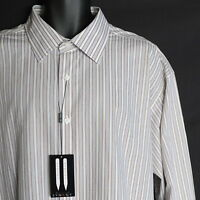 Synrgy Men's Button Front Shirt Xxl 2xl Long Sleeve Striped