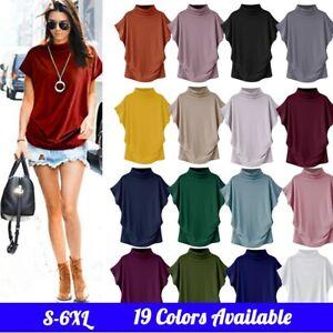 Women-Lady-Turtleneck-Batwing-Short-Sleeve-Summer-Casual-Blouse-Top-Shirt-S-6XL
