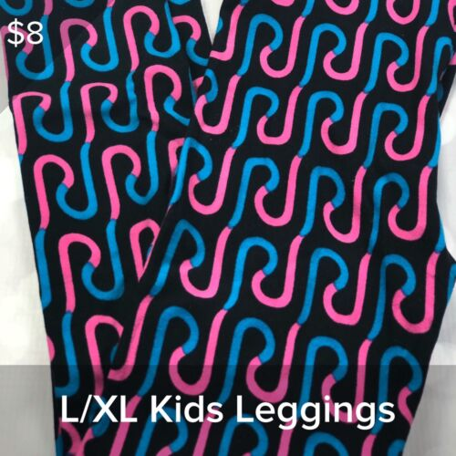 Pink LuLaRoe L//XL Child Kids Leggings LLR -BNWOT Black Blue Ribbons