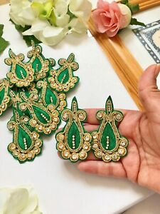 1 Pair  Indian Latest Design Stone bead Zari Applique//Motif Indian Ethnic style