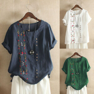Women-Bohemian-Cotton-Tops-Floral-Embroidered-T-Shirt-Short-Sleeve-Blouse-M-5XL