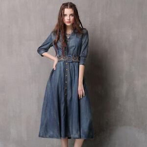 Women/'s Autumn Winter Casual Slim Long Sleeve Midi Denim Dress With Belt Dresses