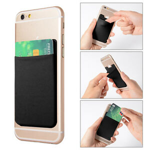 2x-Lycra-Cell-Phone-Wallet-Case-Credit-ID-Card-Holder-Stick-On-3M-Adhesive-AC418