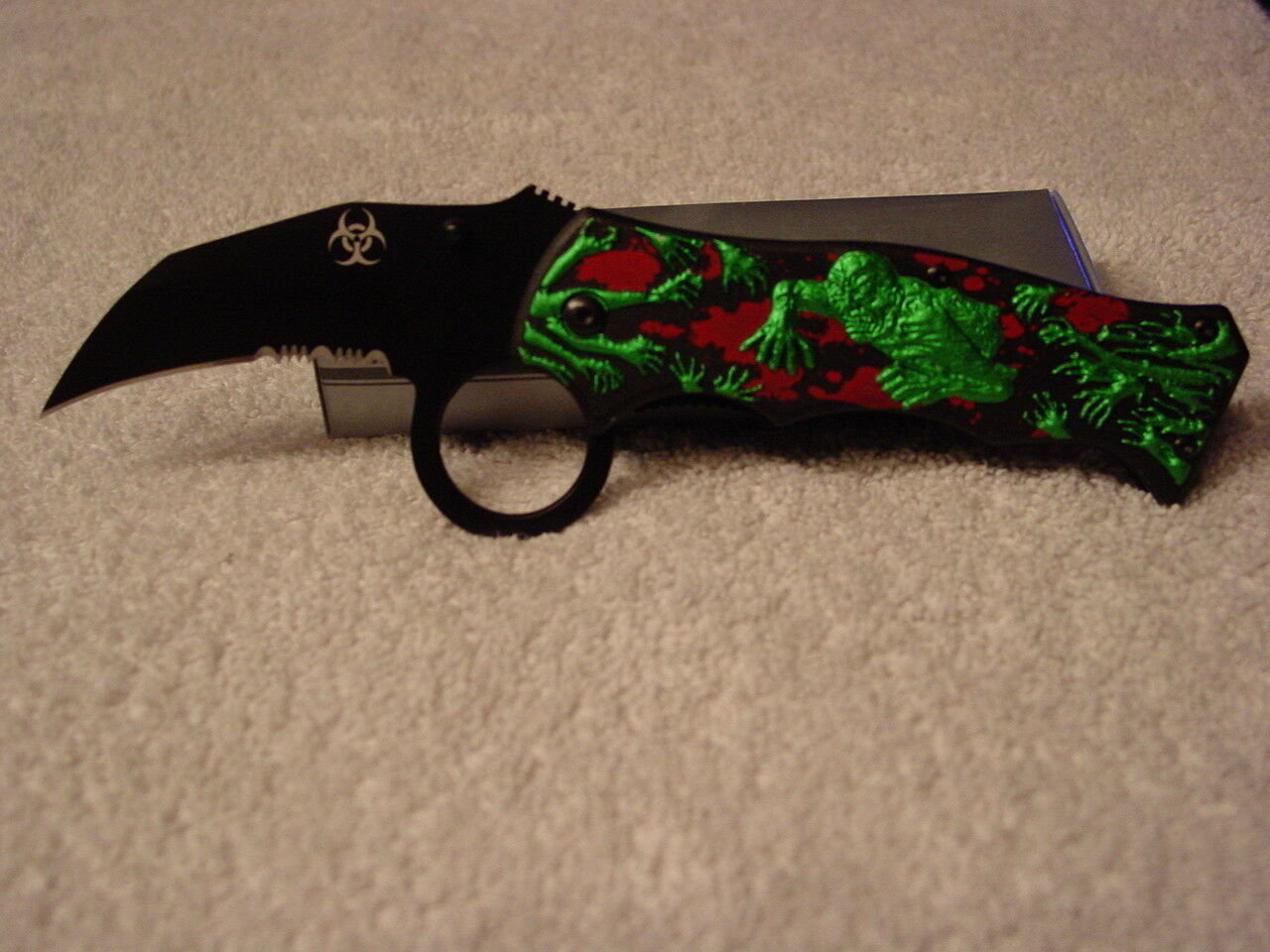 ZOMBIE SPRING ASSISTED POCKET KNIFE BLADE WITH BELT CLIP GREEN RED BLACK HANDLE