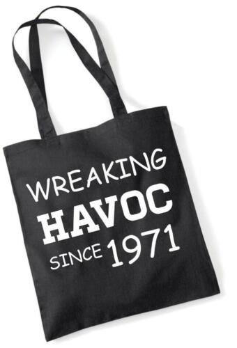 49th Birthday Gift Tote Shopping Cotton Novelty Bag Wreaking Havoc Since 1971