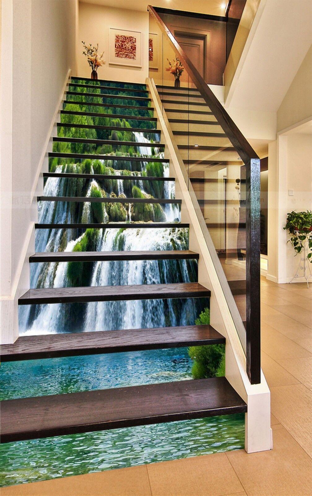 3D Fluss Pflanzen 1 Stair Risers Dekoration Fototapete Vinyl Aufkleber Tapete DE
