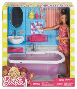 Barbie-Mattel-Deluxe-Set-Moebel-amp-Puppe-Badezimmer-Badewanne-DVX53-NEU-OVP