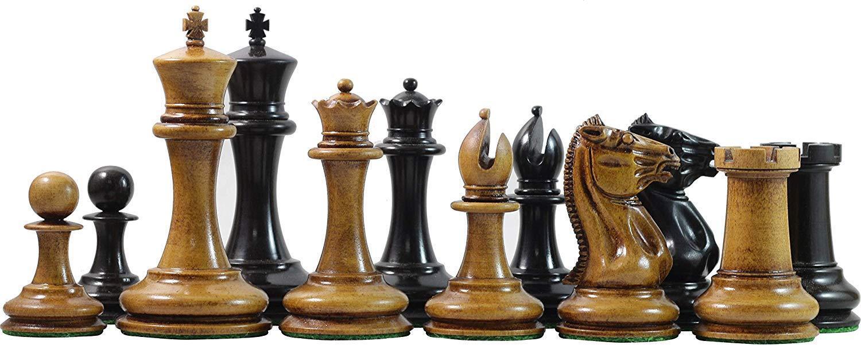 """Vintage 1849-50 Reproduction Distressed  Antiqued Morphy Cooke 3.5"""" Ebony Chess  gros pas cher et de haute qualité"""